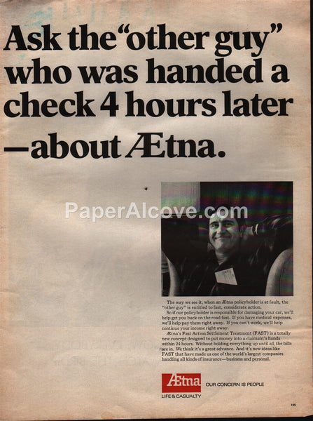 Aetna Life & Casualty 1968 vintage original old magazine ad