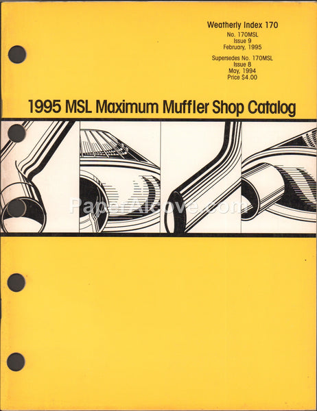 MSL Maximum Muffler Shop 1995 vintage original catalog automotive Weatherly Index 170 170MSL