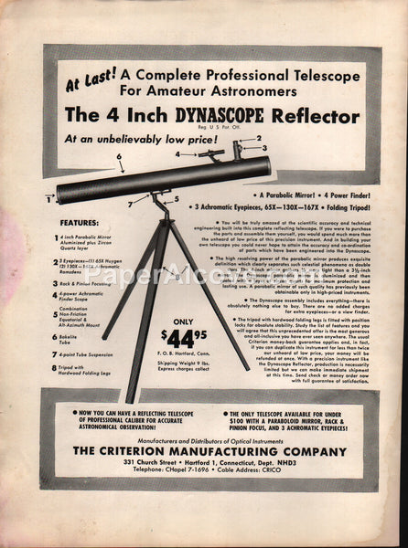 Criterion Manufacturing 1955 Dynascope Reflector Telescope vintage original old magazine ad