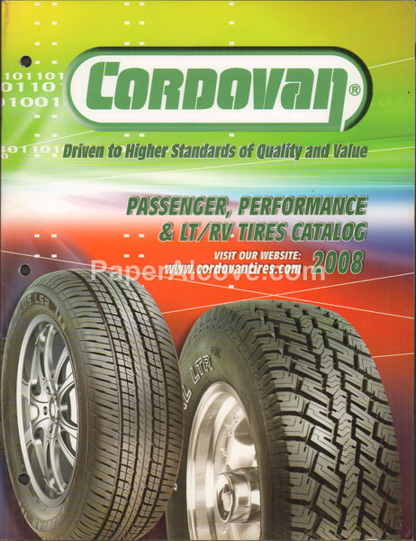 Cordovan Passenger Performance LT/RV Tires 2008 vintage original catalog automotive
