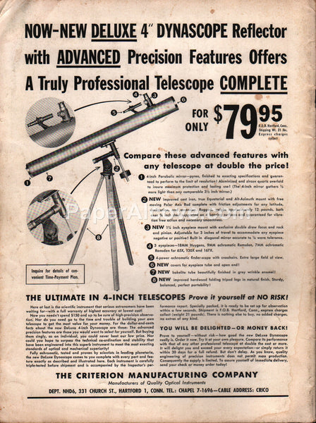 Criterion Manufacturing 1955 Deluxe Dynascope Reflector Telescope vintage original old magazine ad