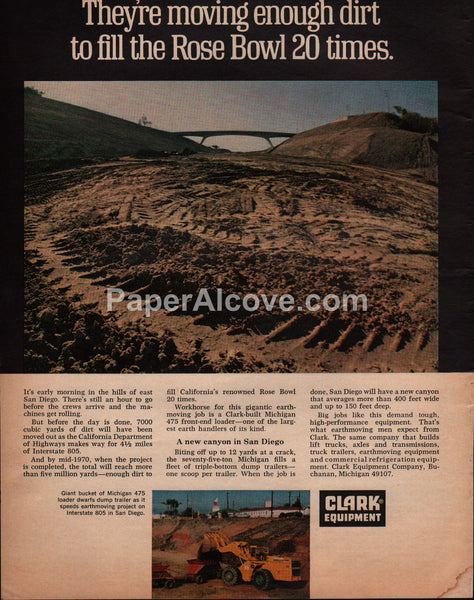 Clark Equipment 1969 San Diego the 805 construction vintage original old magazine ad