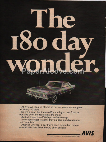 Avis Rent a Car 1969 180 day wonder vintage original old magazine ad
