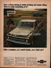 Chevrolet Chevy Pickup Trucks 1969 campers vintage original old magazine ad
