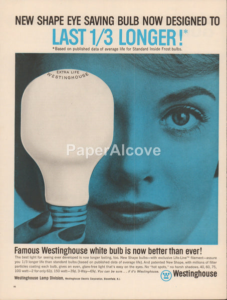Westinghouse New Shape Life-Line Filament lightbulbs 1962 vintage original old magazine ad woman holding bulb