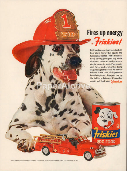 Friskies Dog Food Dalmatian dog fire fighter firetruck 1962 vintage original old magazine ad