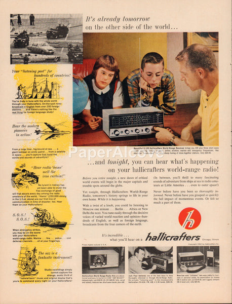 Hallicrafters S-120 World-Range Receiver Radio 1962 vintage original old magazine ad