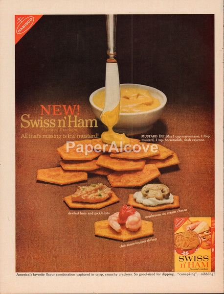 Nabisco Swiss n' Ham flavored crackers 1962 vintage original old magazine ad