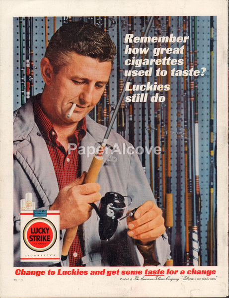Lucky Strike Cigarettes 1962 vintage original old magazine ad fishing pole rod reed fisherman