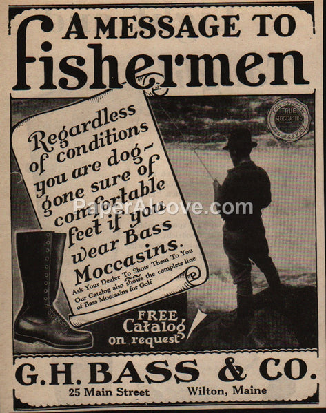 G.H. Bass Moccasin Boots Fishermen 1929 vintage print ad Wilton ME