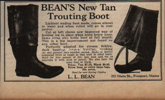 L.L. Bean Tan Trouting Wading Boots fishing 1929 vintage print ad Freeport ME