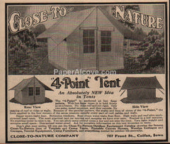Close-To-Nature 4-Point Tent 1929 vintage print ad camping