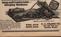 C.C. Filson sleeping bag 1929 vintage print ad camping Seattle