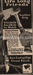 Estwing Axe Knife 1929 vintage print ad Rockford IL