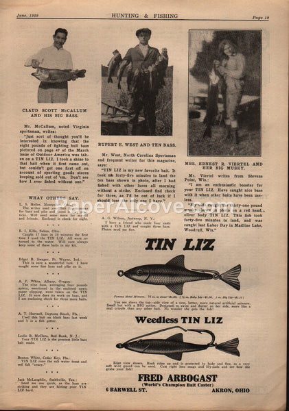 Fred Arbogast Tin Liz Fishing Tackle 1929 vintage print ad