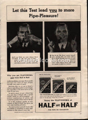 Half and Half telescope tin pipe tobacco 1938 vintage print ad