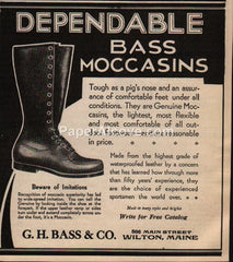G.H. Bass Dependable Moccasins Boots Wilton Maine 1930 vintage print ad