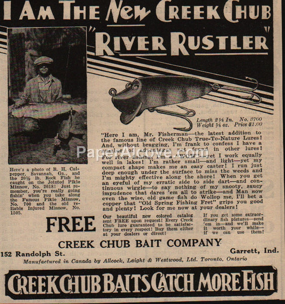 Creek Chub Bait River Rustler Lure Fishing 1930 vintage print ad