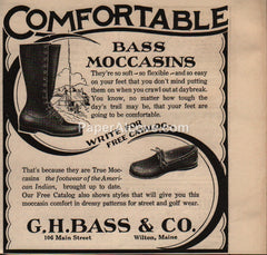 G.H. Bass Comfortable Moccasins Boots Wilton Maine 1930 vintage print ad