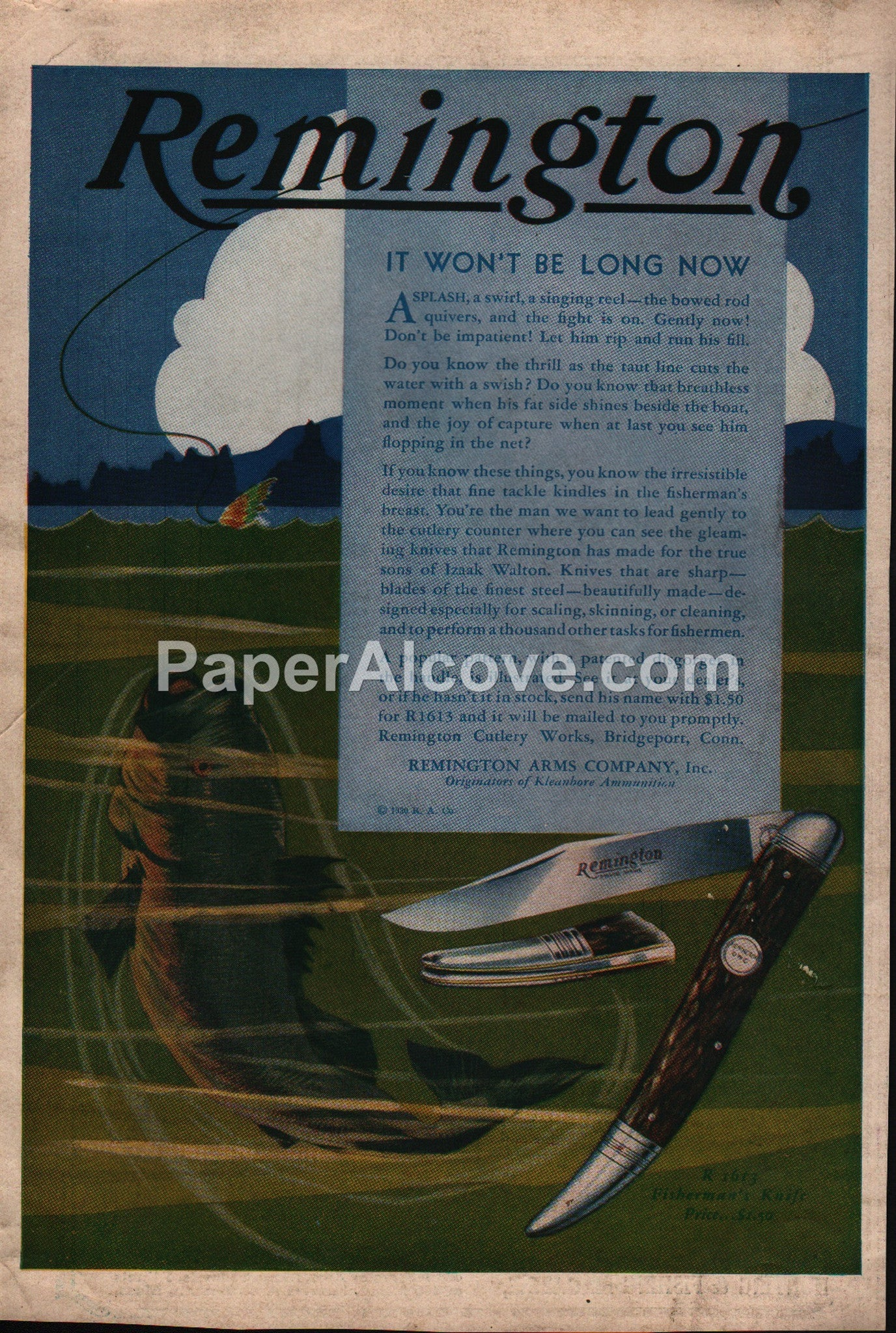 Remington R1613 Fisherman's Knife fishing knives 1930 vintage print ad