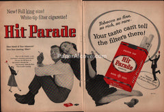 Hit Parade Cigarettes man woman 1957 vintage print ad