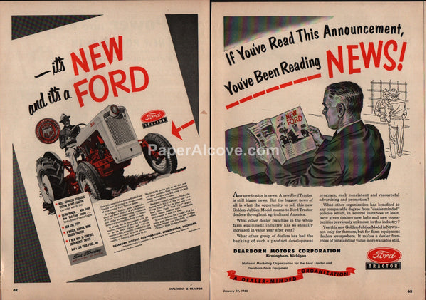 Ford Tractor Golden Jubilee Model farming 1953 vintage print ad