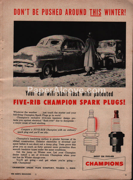 Champion Five-Rib Spark Plugs Toledo Ohio 1954 vintage print ad
