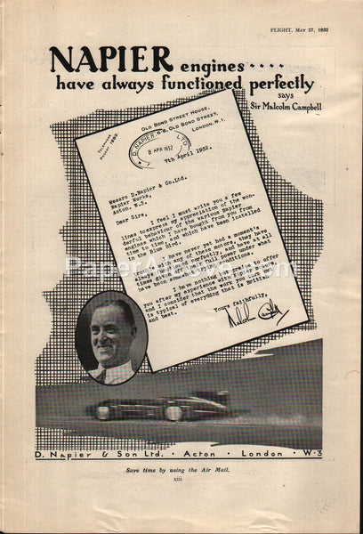 D. Napier & Son Engines Motors race car 1932 vintage original old magazine ad