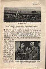 Miss Amelia Earhart's Atlantic Solo Crossing 1932 vintage original old magazine article