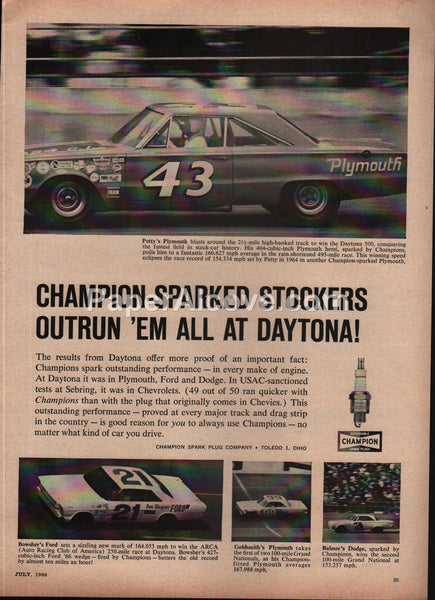 Champion Spark Plugs Daytona Stock Cars 1966 vintage original old magazine ad