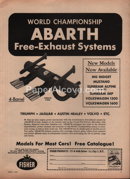 Abarth Free-Exhaust System Fisher Products 1966 vintage original old magazine ad