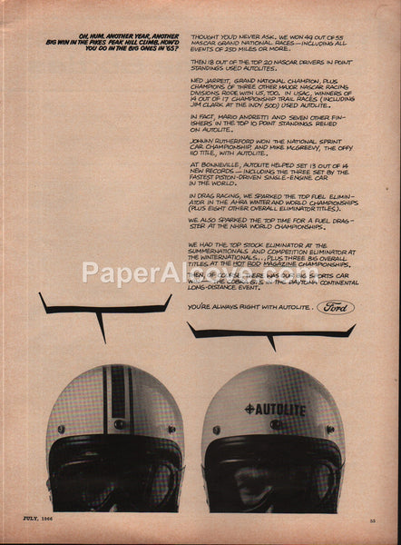 Ford Autolite Race Results 1966 vintage original old magazine ad