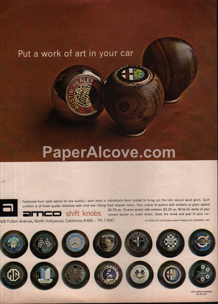 Amco Walnut Shift Knobs 1966 vintage original old magazine ad