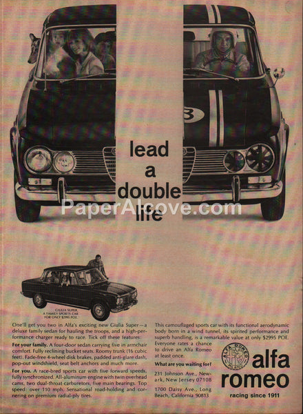 Alfa Romeo Giulia Super Sedan Car 1966 vintage original old magazine ad