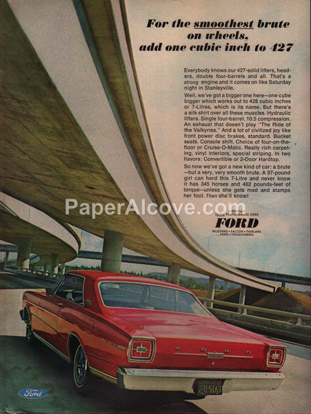 Ford Galaxie 500 1966 vintage original old magazine ad