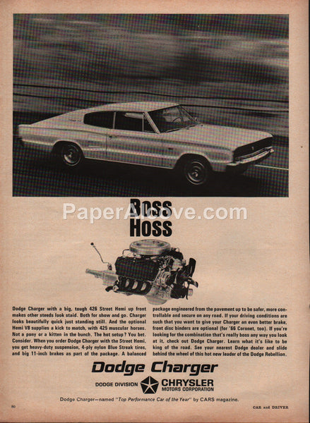 Dodge Charger Street Hemi Boss Hoss 1966 vintage original old magazine ad