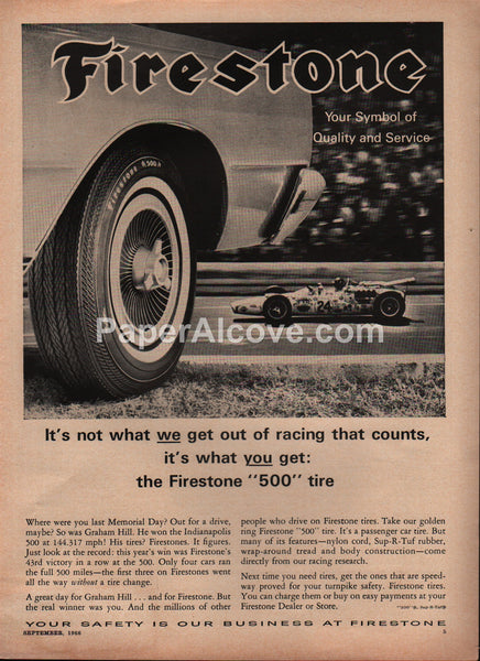 Firestone 500 Tire Graham Hill Indy 500 1966 vintage original old magazine ad