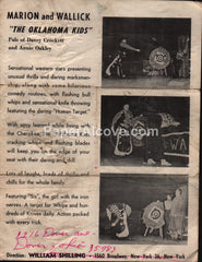 Marion and Wallick The Oklahoma Kids western show 1950s-60s vintage original old brochure