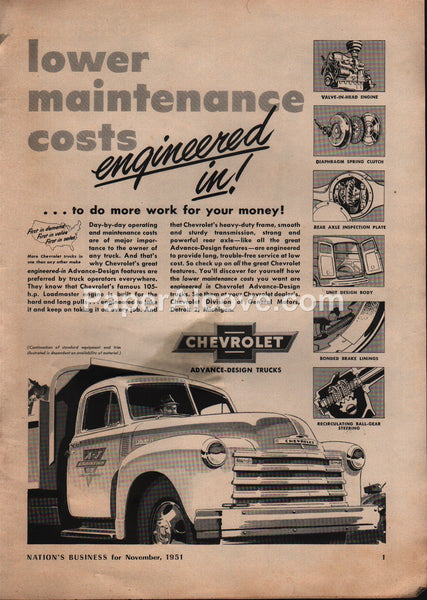 Chevrolet Trucks Loadmaster Engines 1951 vintage original old magazine ad