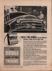 Dodge Job-Rated Trucks 1951 vintage original old magazine ad