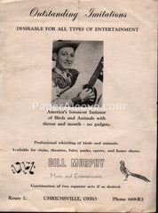 Bill Murphy bird animal imitator western show sideshow Uhrichsville Ohio 1950s-60s vintage original old brochure