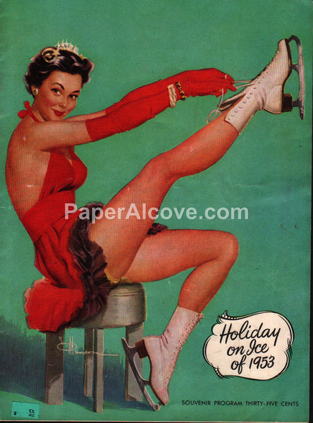 Holiday on Ice of 1953 8th Edition vintage souvenir program ice skating Knute O. Munson good girl pin up art
