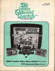 Train Collectors Quarterly July 1973 original vintage tinplate railroad magazine Mickey Mouse Handcar toy