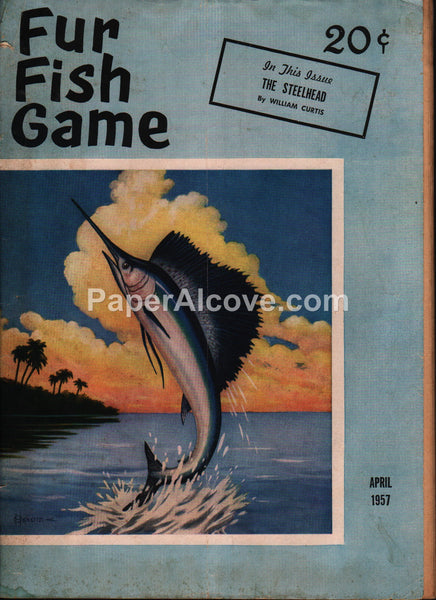 Fur Fish Game April 1957 magazine marlin cover