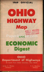 Ohio Official Highway Map and Economic Digest 1969 vintage old