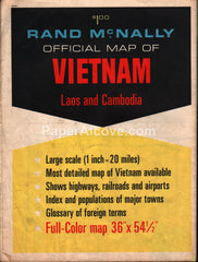 Rand McNally Official Map of Vietnam Laos Cambodia 1960s-1970s vintage original