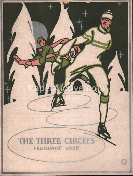 Evans-Winter-Hebb The Three Circles ice-skating 1928 direct advertising card 818 Hancock Avenue West Detroit