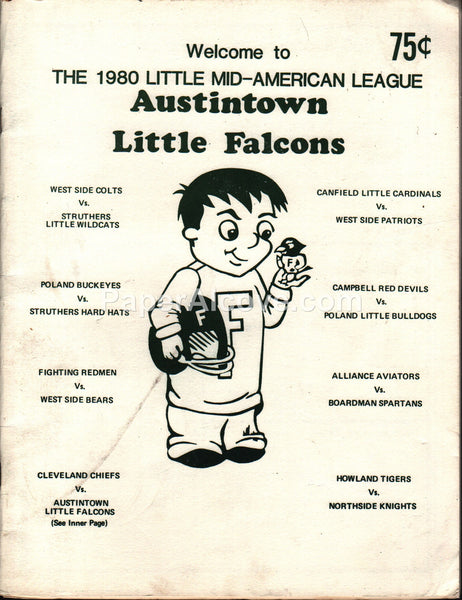 Austintown Little Falcons 1980 Little Mid-American League Ohio Football Program