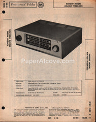 Knight KN-100 92SX401 Allied Radio AM-FM Tuner 1958 PhotoFact Folder Repair Service Guide Schematics Howard W. Sams