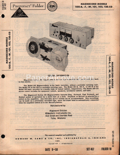 Magnecord 100-B 100-T 100-W 101 102 128-CG Reel-to-Reel Stereo Tape  Recorder 1959 PhotoFact Folder Repair Service Guide Schematics Howard W   Sams